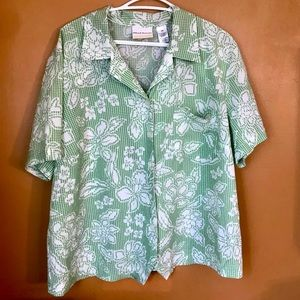 ALFRED DUNNER green gingham button down blouse